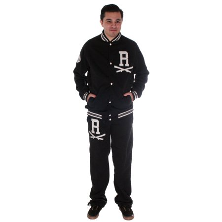 Tracksuit/Varsity Style/ Button Front Sweater, Pants, Black, XL