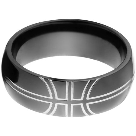 8mm Half-Round Black Zirconium Ring with a Milled Basketball (Black Zirconia Ring)