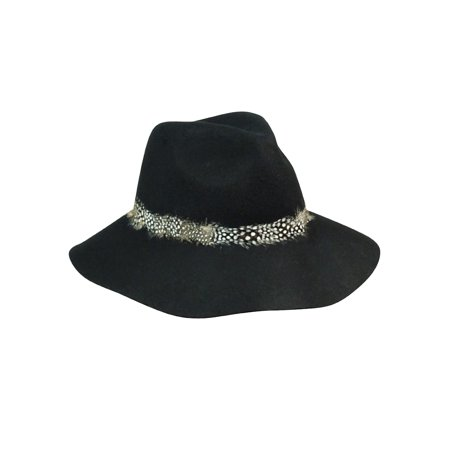 5a5c5ed22813d7 August Accessories - August Accessories Women's Feather Trim Wool Felt Floppy  Hat (OS, Black) - Walmart.com