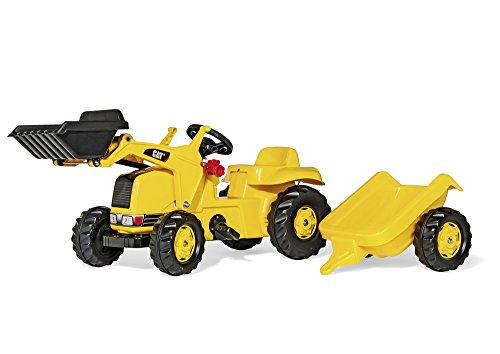 rolly toys CAT Construction Pedal Tractor: Front Loader Tractor with Detachable Trailer, Youth Ages 2.5+ by