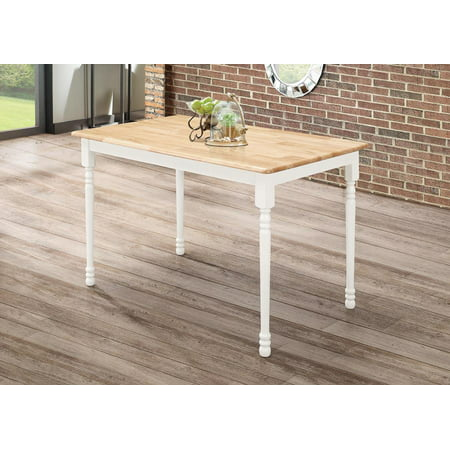 Coaster Farmhouse Damen Rectangular Dining Table in Warm Natural and White Wood ()