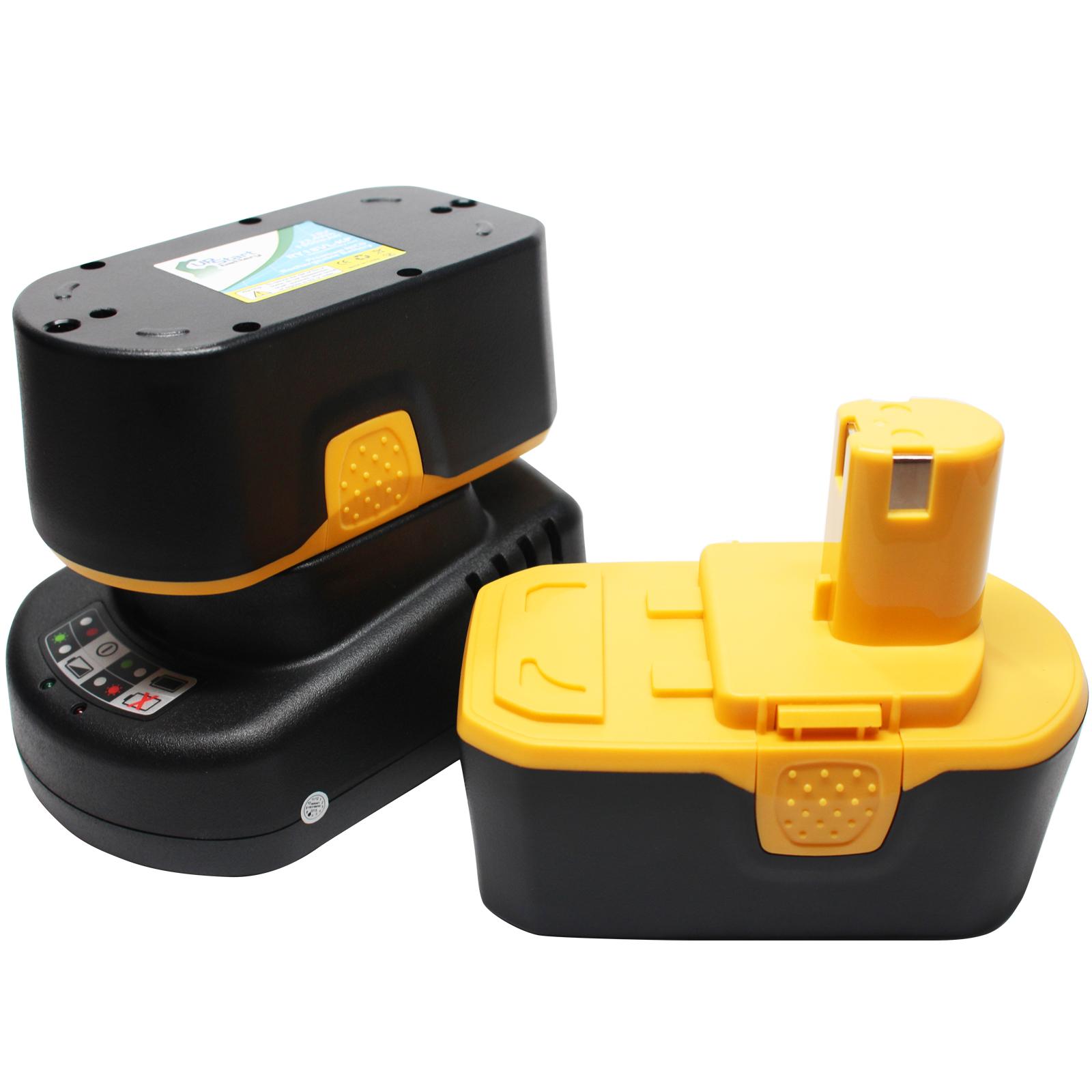 2-Pack - Ryobi P510 Battery + Universal Charger for Ryobi Replacement - For Ryobi 18V Power Tool Battery and Charger (1300mAh, NICD) - image 4 de 4