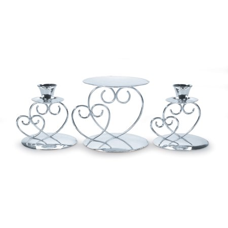 Decorate Unity Candles - Victoria Lynn Unity Candle Set - Double Heart - Silver