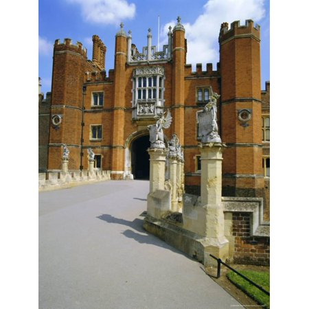 The Queen's Beasts on the Bridge Leading to Hampton Court Palace, Hampton Court, London, England Print Wall Art By Walter