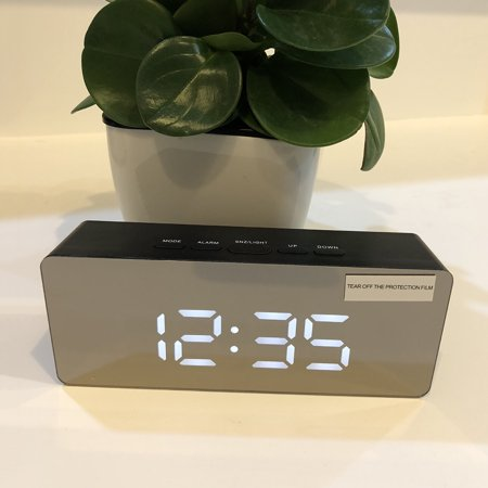 Jeobest LED Digital Alarm Clock - Home Mirror LED Electronic Clock Bedside  Alarm Temperature Display Bedroom Nightstand Clock with USB Charger Port ...