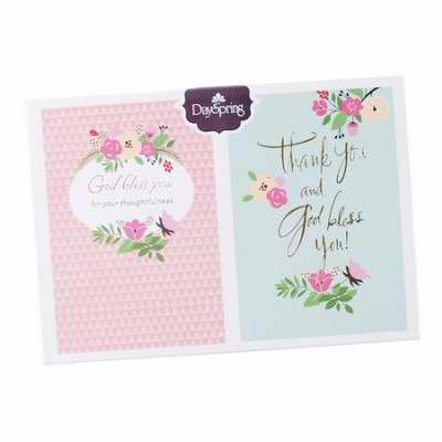 Note Card-Thank You-Classy Floral-Proverbs 11:25 NLT & Psalm 129:8 KJV  (Pack of 12)