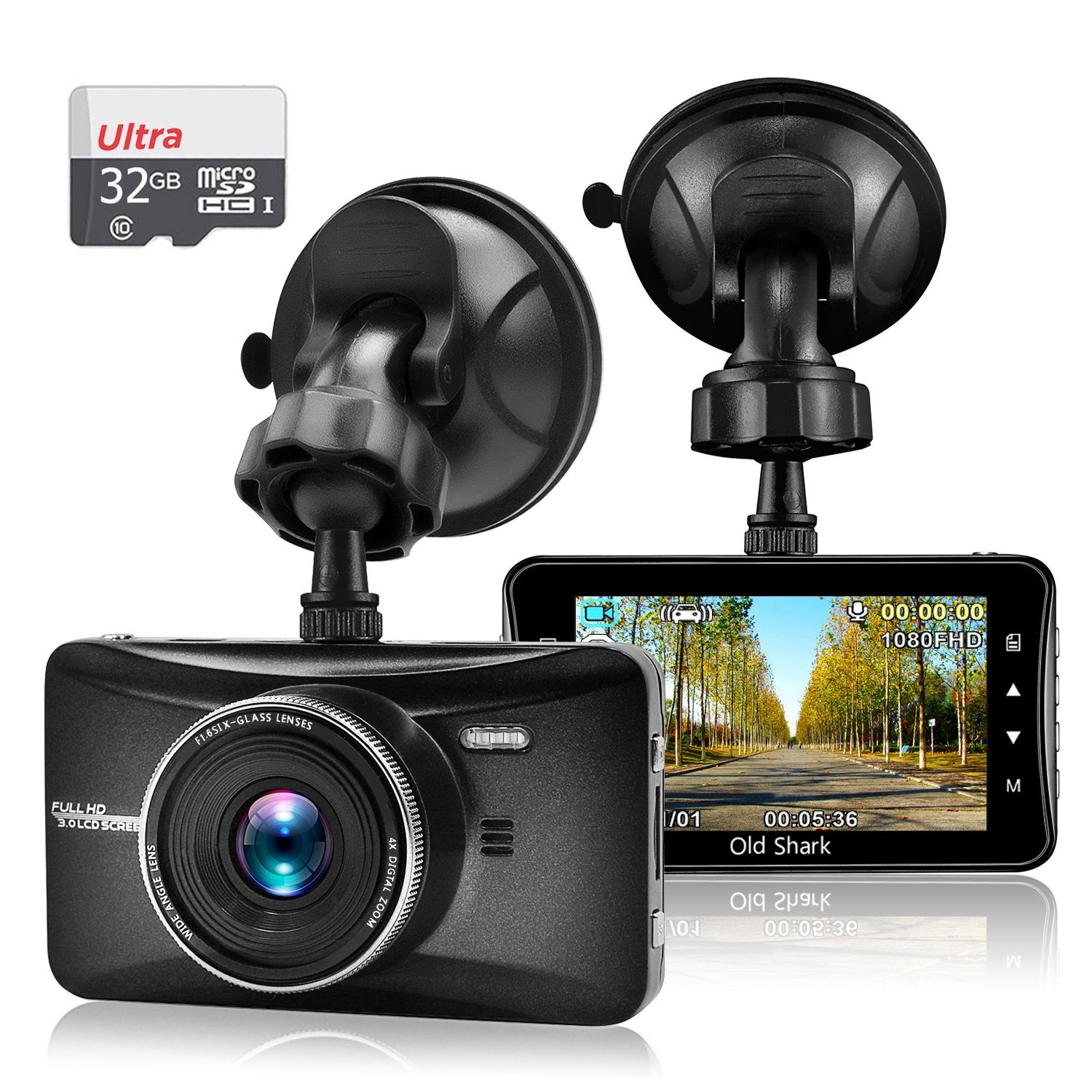 "OldShark 3"" 1080P Dash Cam for Cars with 32GB Card Vehicle Video Recorder Camera Night Vision"
