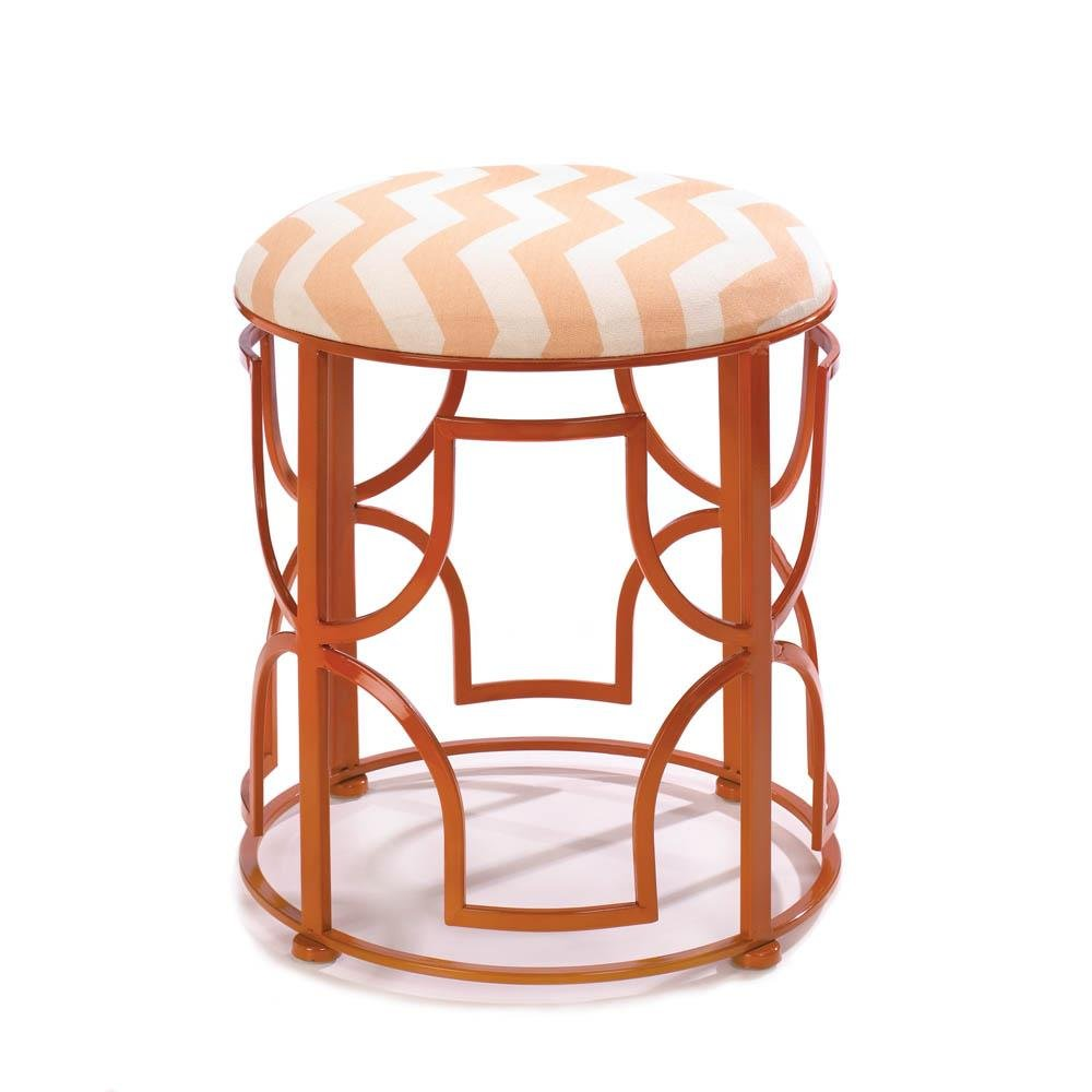 Accent Plus Metal Garden Stool, Chic Chevron Round Portable Backless Decorative Stool
