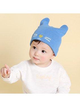 Soft Girls Boys Autumn Winter Cat Ear Beard Embroidery Hats