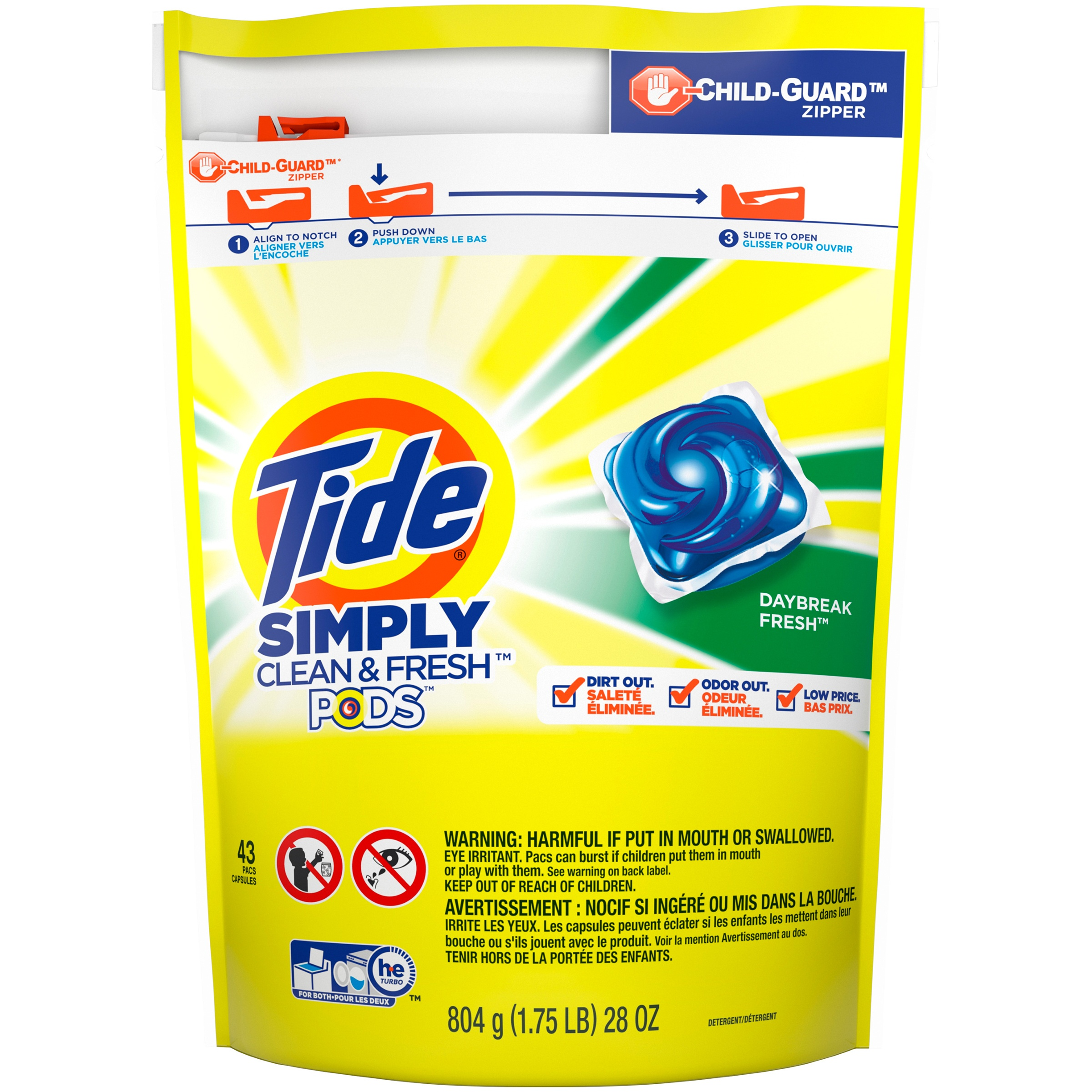 Tide PODS Simply Clean & Fresh Laundry Detergent Pacs, Daybreak Fresh, 43 count