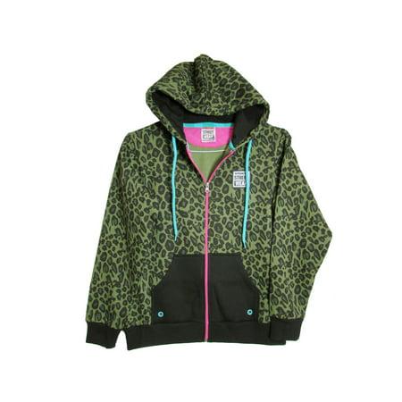 Womens WildLife Zip Hoodie Fashion Hoodie, Black Leopard, - Mn Wild Hoodie