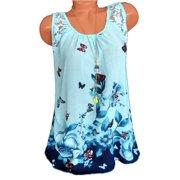 Sleeveless Lace Stitching Women Butterfly Print Chiffon Blouse
