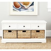 Safavieh Damien Storage Bench with 3 Wicker Baskets and 3 Drawers