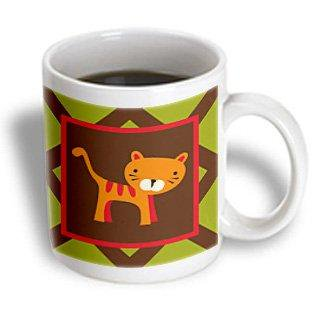 3dRose Cute Kitty- Whimsical Childrens Art- Animals, Ceramic Mug, 11-ounce