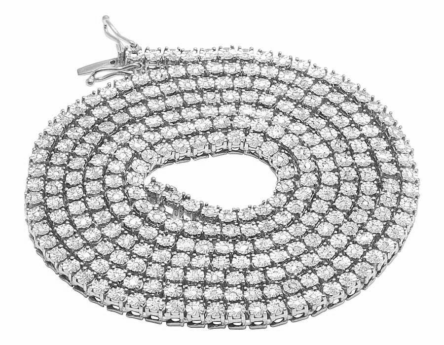 White Gold Finish 1 Row Real Diamond Necklace 24 Ins (1.75 Ct) by Jewelry Unlimited