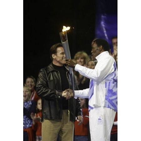 Arnold Schwarzenegger and Rafer Johnson at the Olympic Torch Relay in Los Angeles Photo Print - Olympic Torch Prop