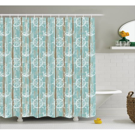 Marina Satin Shower Curtain - Nautical Shower Curtain, Marine Elements Drawn on Old Wood Surface Helm Anchor Ornamental Print, Fabric Bathroom Set with Hooks, 69W X 70L Inches, Turquoise Cocoa White, by Ambesonne