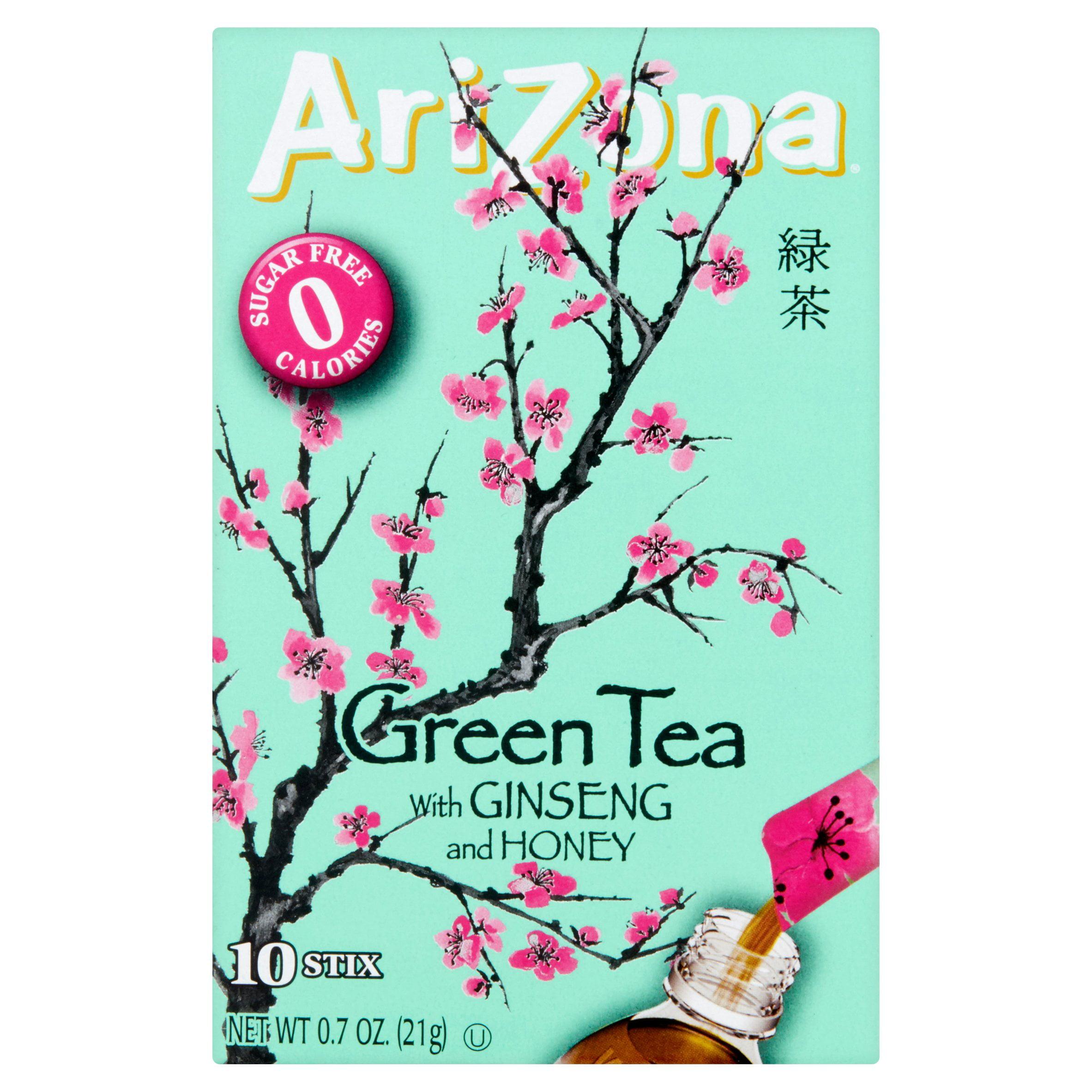 AriZona Green Tea with Ginseng and Honey Iced Tea Stix, Sugar Free, 10 count by Arizona Beverages USA LLC
