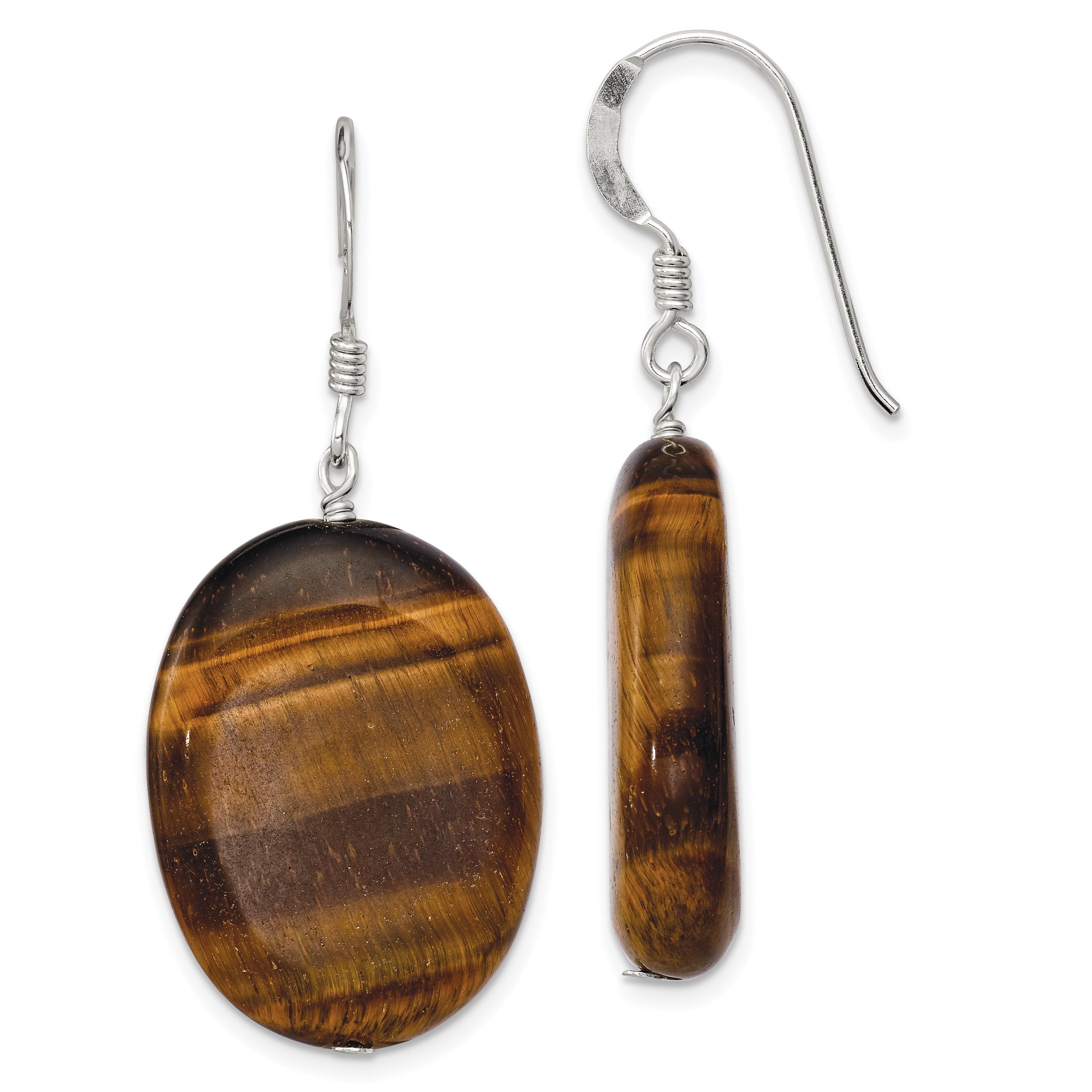 925 Sterling Silver Tigers Eye Drop Dangle Chandelier Earrings Fine Jewelry Gifts For Women For Her - image 2 of 2