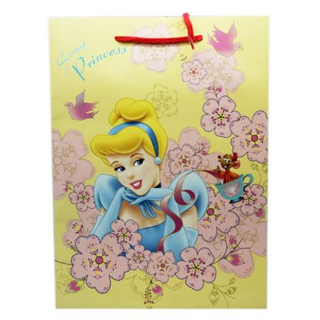 Disney Princess Cinderella Yellow Colored Floral Medium Size Gift (Floral Medium Gift Bag)