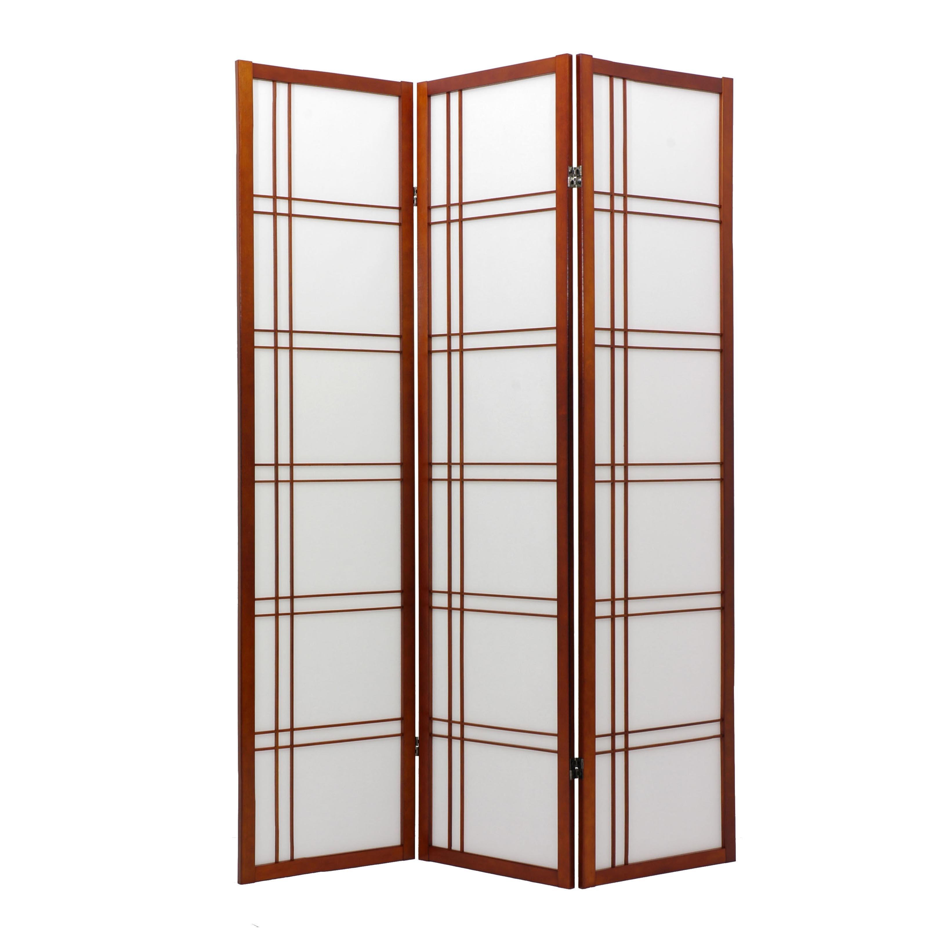Oriental Furniture Double Cross Shoji Screen in Walnut - SSCDBLX-4_Panel-Walnut