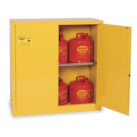 Eagle Flammable Liquid Safety Cabinet, Galvanized Steel, Yellow, 1932