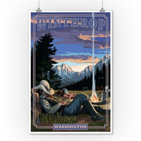 Winthrop, Washington - Cowboy Camping Night Scene - Lantern Press Poster (9x12 Art Print, Wall Decor Travel Poster) - Casino Cowboy Scene