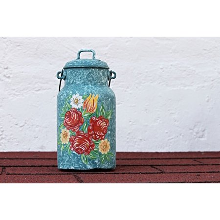 LAMINATED POSTER Painting Pot Decoration Ornament Milk Can Painted Poster 24x16 Adhesive Decal