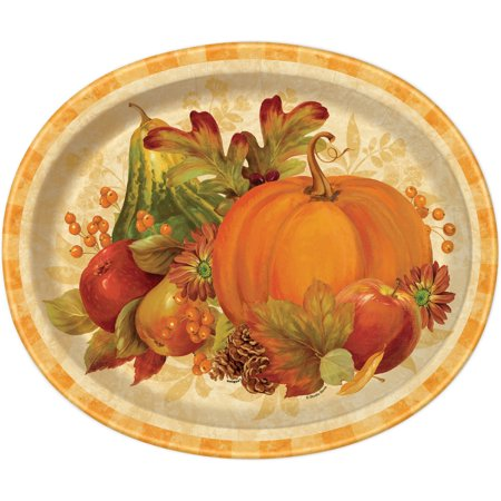 Unique Industries Pumpkin Harvest Fall Oval Paper Plates, 12.25 In, 8Ct