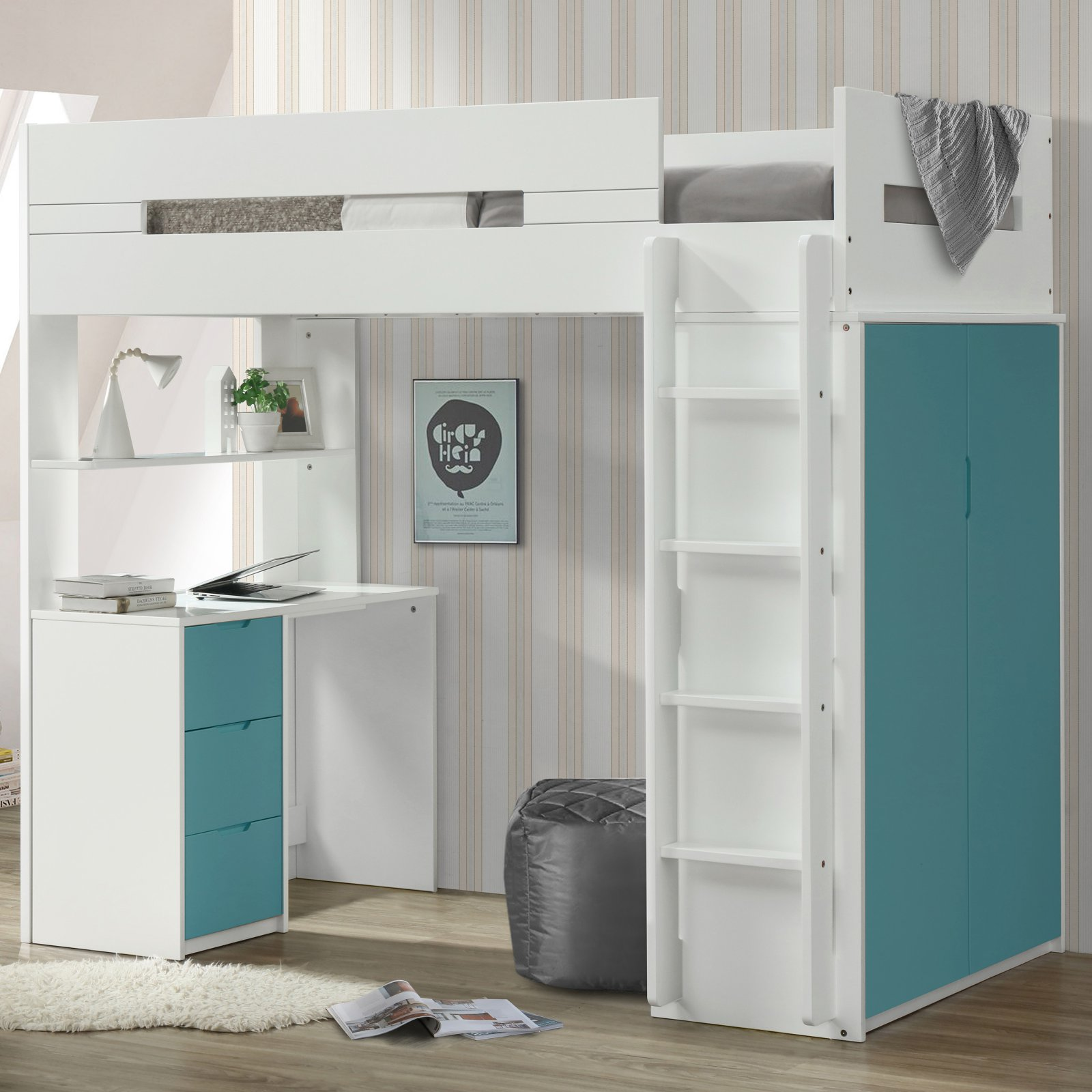 ACME Nerice Twin Loft Bed with Desk and Wardrobe in White, Multiple Colors