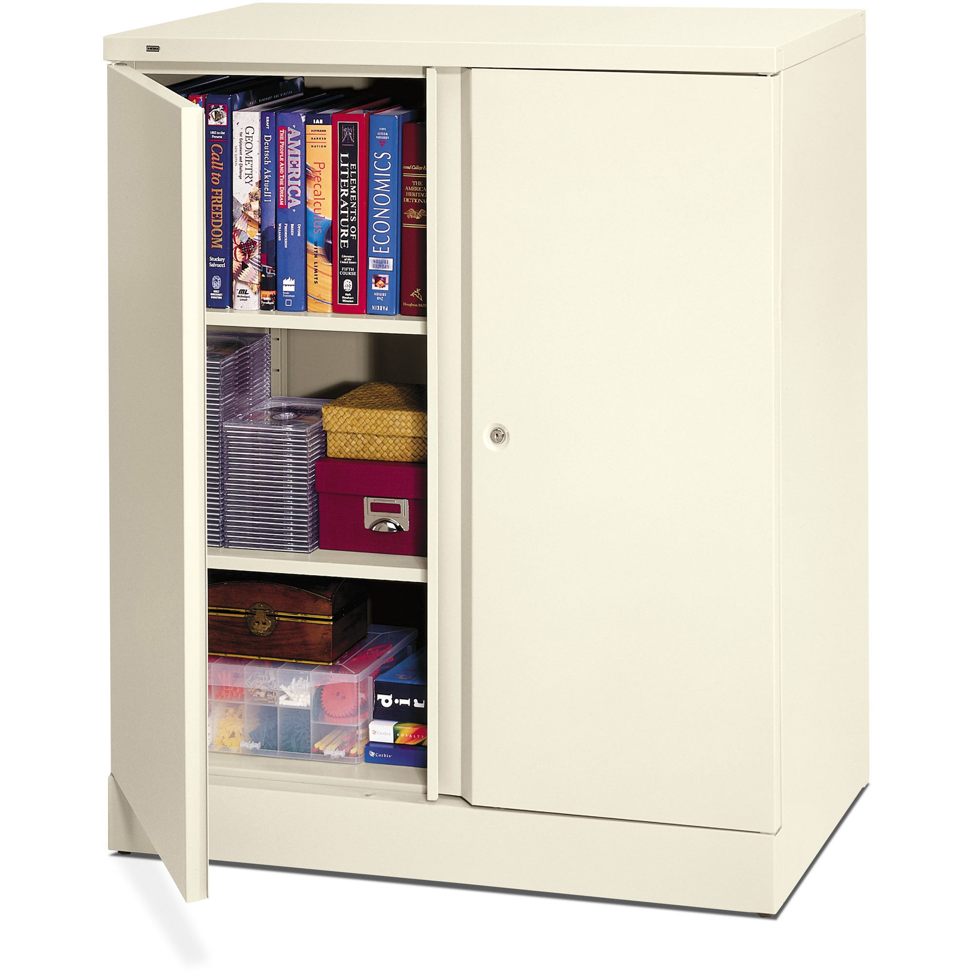 basyx Easy-to-Assemble Storage Cabinet, 36w x 18d x 42-3/4h, Light Gray