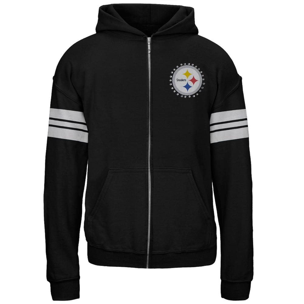 Pittsburgh Steelers - Logo Sport Stripes Girls Juvy Zip Hoodie