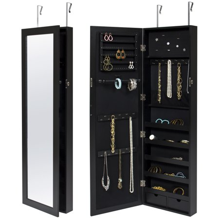 Best Choice Products Mirrored Lockable Jewelry Cabinet Armoire Organizer w/ Door Hanging Hooks, Wall Mount, Keys - Black (Jewelry Cabinet Hooks)
