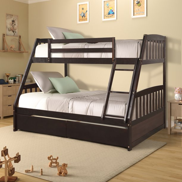 Wood Twin Over Full Bunk Beds, Kids Bunk Beds with Ladder, Safety