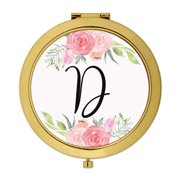 Andaz Press Compact Mirror Bridesmaid's Wedding Gift, Gold, Monogram Letter D, Peach and Pink Roses, 1-Pack
