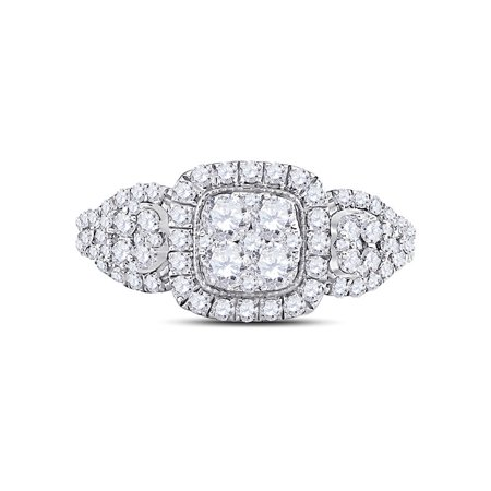 10kt White Gold Womens Round Diamond Square Halo Cluster Ring 1-1/4 Cttw - image 2 of 4