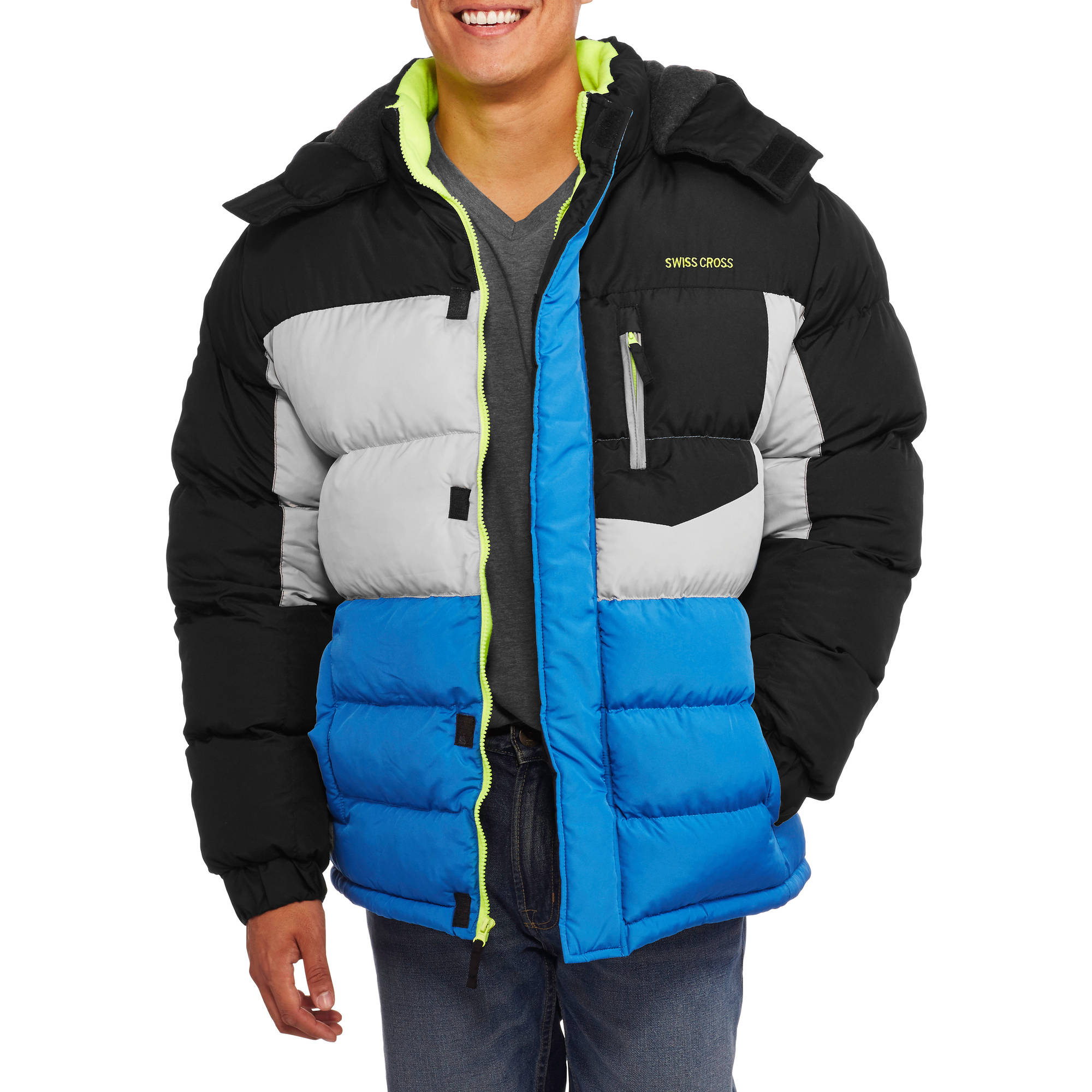 Men's Colorblock Bubble Jacket with Removable Hood
