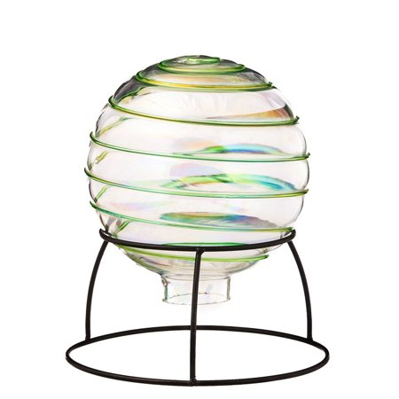 Hand Blown Swirl Table Top Grazing Ball with Stand, (Hand Blown Swirl)