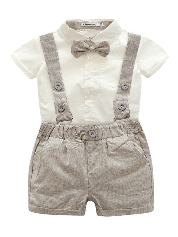 Baby Boys Christening Outfit Tuxedo Gentleman Bowtie Romper Suspenders Strap Adjustable Elastic Braces Shorts Pants Toddler Infant Formal Birthday Party Newborn 3PCS Baptism Clothing Sets for Kids