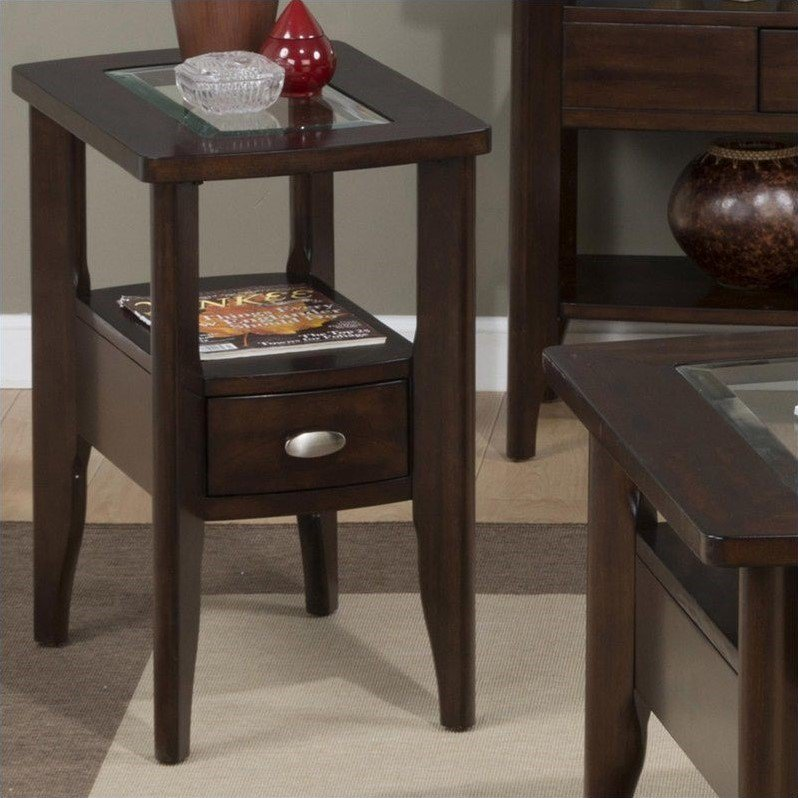 Jofran 827 Series Chairside Table in Birch Veneers in Montego Merlot by Jofran