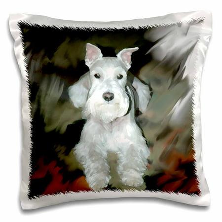 3dRose White Schnauzer - Pillow Case, 16 by (Schnauzer Pillow)