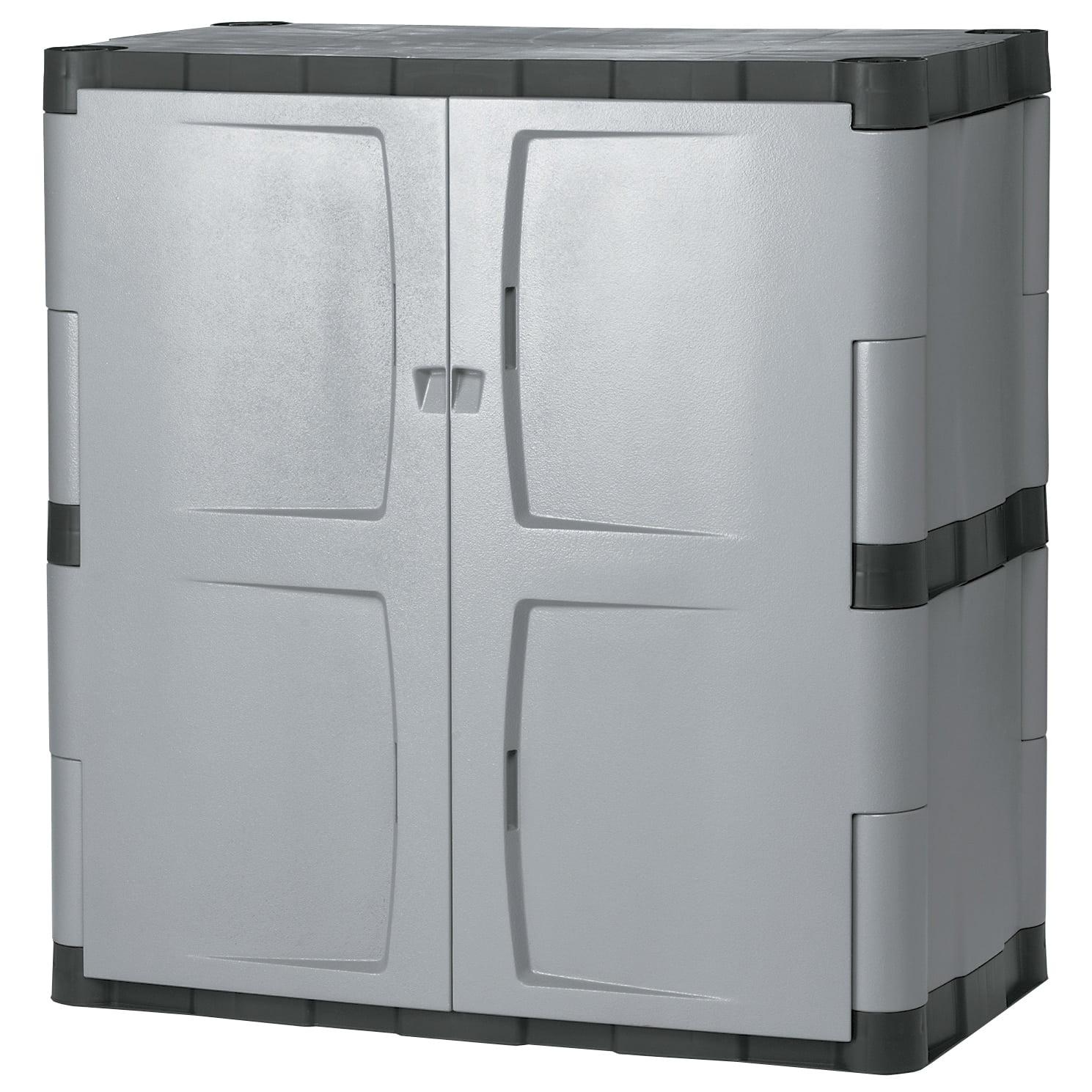 Rubbermaid Commercial Grey/Black Double-door Storage Cabinet ...