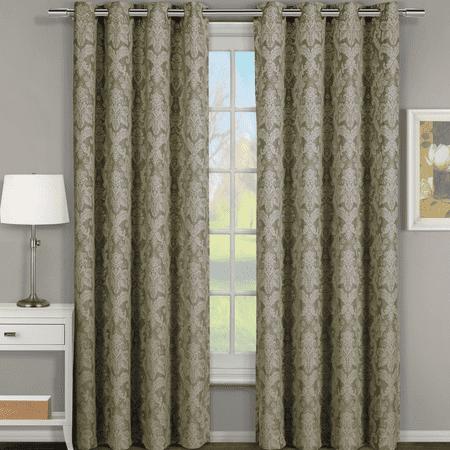 Pair (Set of 2) Blair Jacquard Room Darkening Curtain Floral Inspired Curtain Panels - 108x120 - Sage