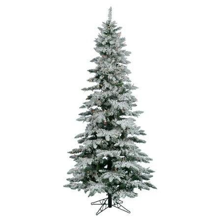 Vickerman 6.5 ft. Flocked Slim Utica Fir Multi LED Christmas Tree ()