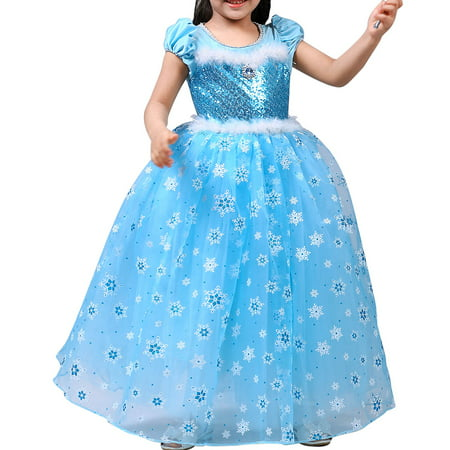 Harley Quinn Fancy Dress Costume (Girls' Princess Elsa Costumes Snow Queen Fancy Party Birthday)