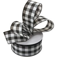"Black White Buffalo Plaid Ribbon - 2 1/2"" x 50 Yards, Wired Edge Christmas Ribbon, Wreath, Farmhouse Decor, Garland, Presents, Gift Basket, Wrapping, Ribbons for Crafts"