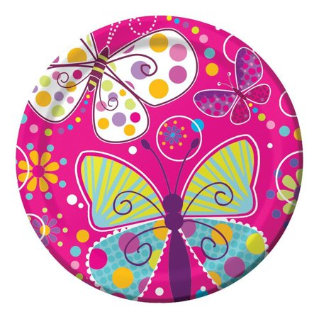 - Butterfly Sparkle 9 inch Dinner Plates, Foil, 8 ct
