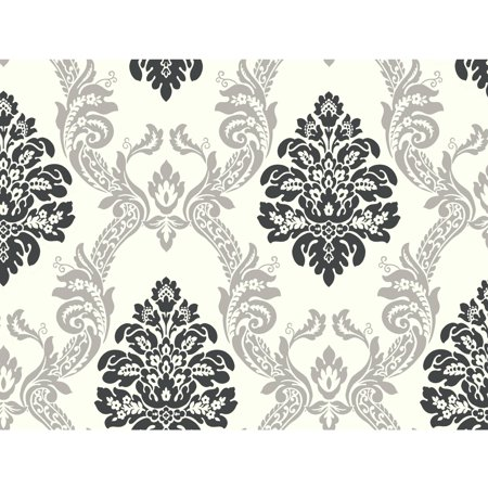 Black & White Ogee Damask - Black And White Halloween Wallpaper
