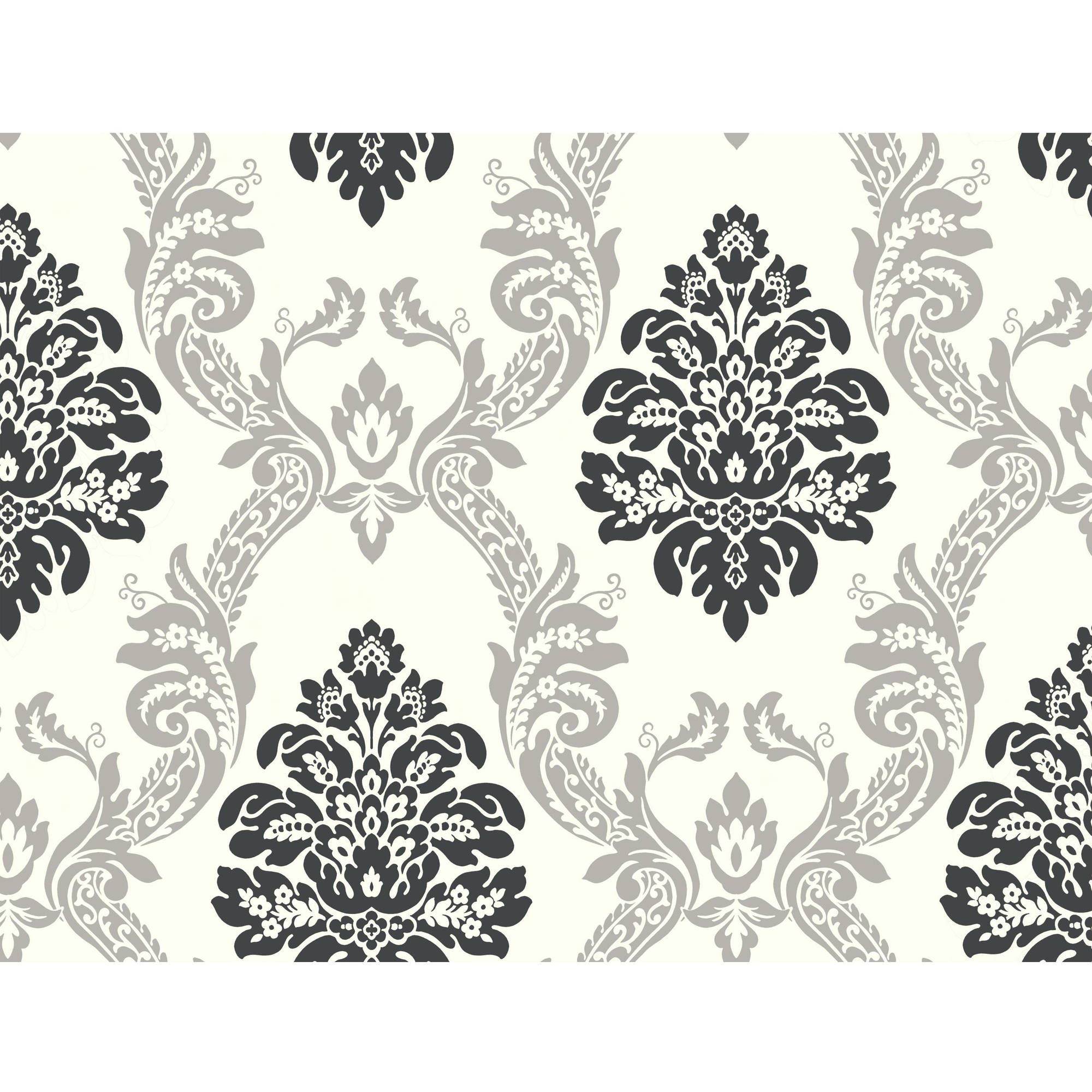 Black & White Ogee Damask Wallpaper