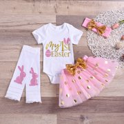 My 1st Easter Newborn Baby Girl Clothes Tops Romper Tutu Skirt Outfits 4PCS Pink 0-3Months